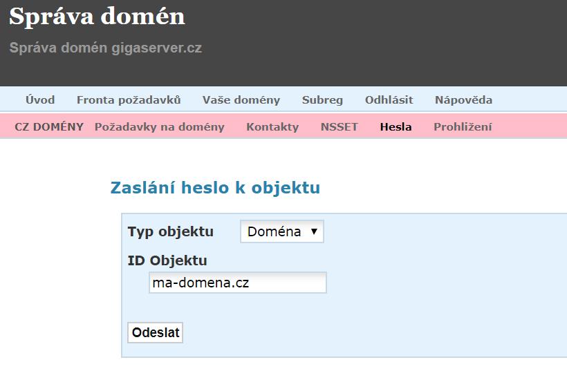 Heslo k převodu domény