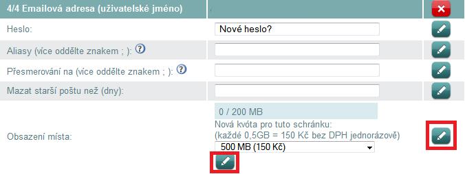 E-mailová schránka a její navýšení v administraci