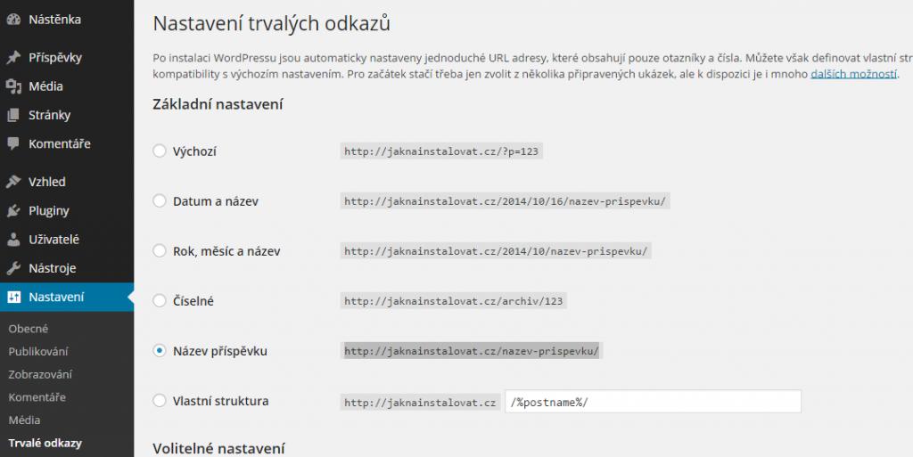 Nastavení odkazů URL ve WordPressu