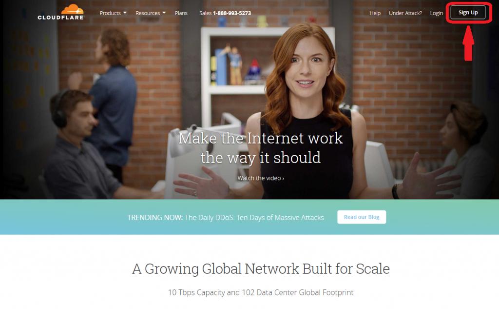 Úvodní stránka služby Cloudflare