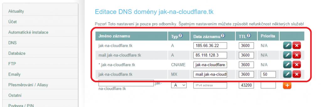 Správa DNS na Gigaserveru