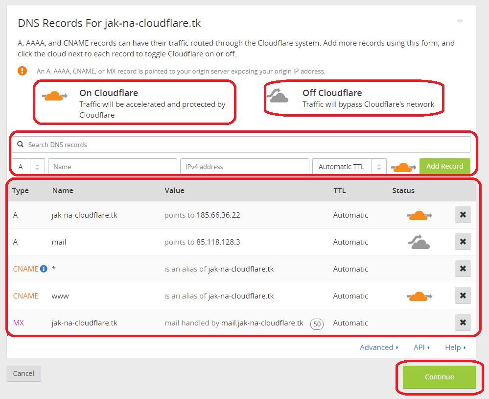 Správa DNS ve službě Cloudflare