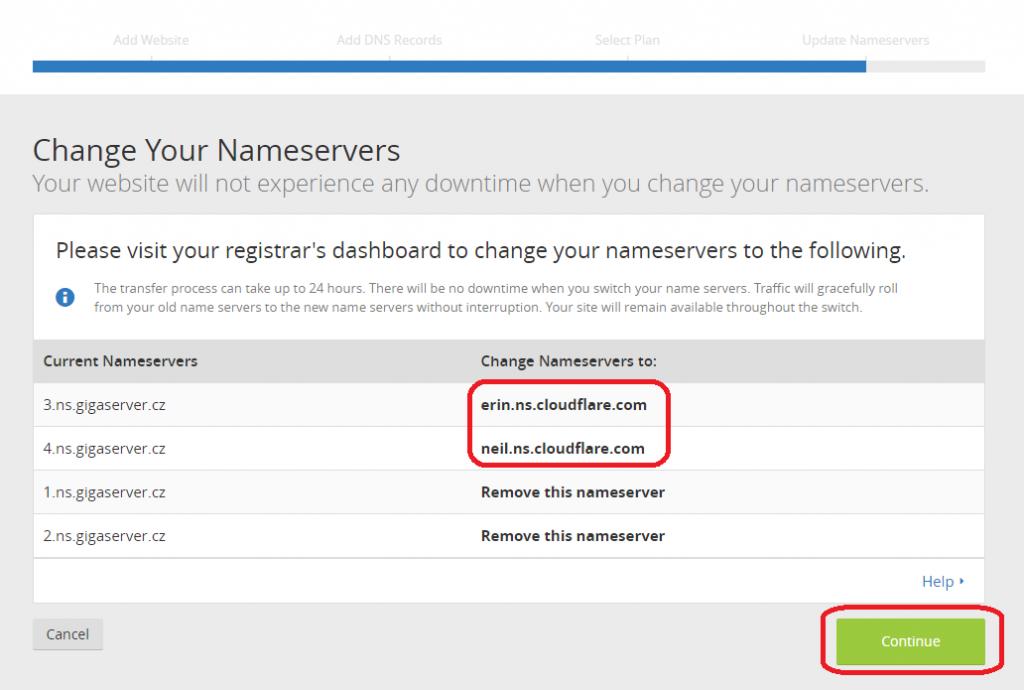 Nové jmenné servery, které je třeba nastavit doméně